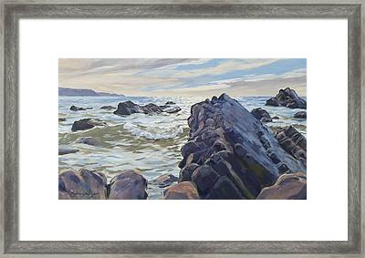 Framed Print featuring the painting Rocks At Widemouth Bay, Cornwall by Lawrence Dyer