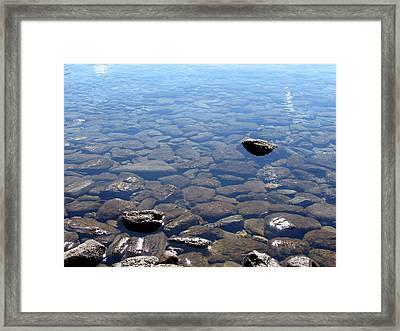 Rocks In Calm Waters Framed Print