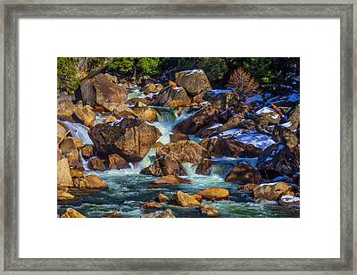 Rocks In The Merced River Framed Print by Garry Gay