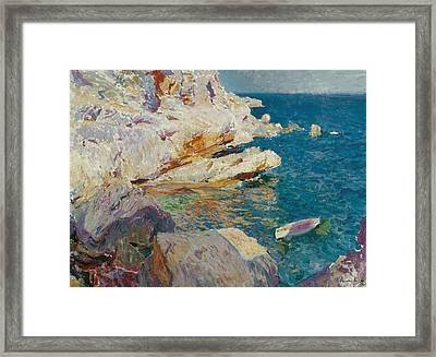 Rocks Of Javea And The White Boat Framed Print