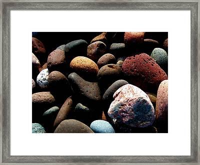 Rocks Of Lake Superior Framed Print by Bridget Johnson