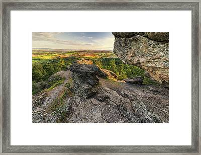 Rocks Of Sharon Overlook Framed Print by Mark Kiver