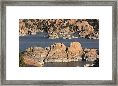 Rocks Of Watson Lake  Framed Print by Jacki Smoldon