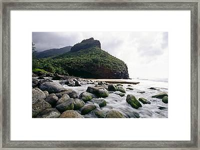 Rocks On A Beach Hanakapiai Beach Na Pali Coast Kauai Hawaii Framed Print by George Oze