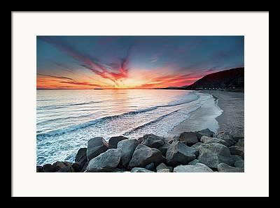 Sunset In Waves Framed Prints