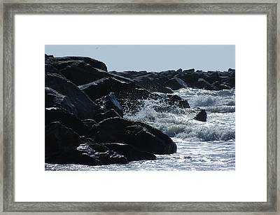 Rocks On The Jetti At Cocoa Beach Framed Print