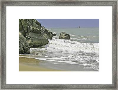 Rocks, Sand And Surf Framed Print
