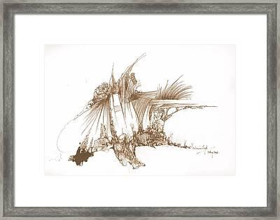Rocks Stones And Some Grass Framed Print by Padamvir Singh