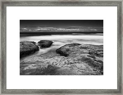 Rocks Towards The Ocean Framed Print by Masako Metz