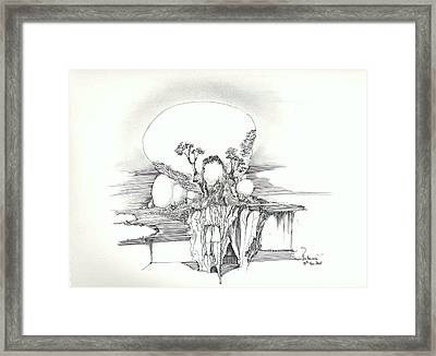 Framed Print featuring the drawing Rocks Trees Women And Faces by Padamvir Singh