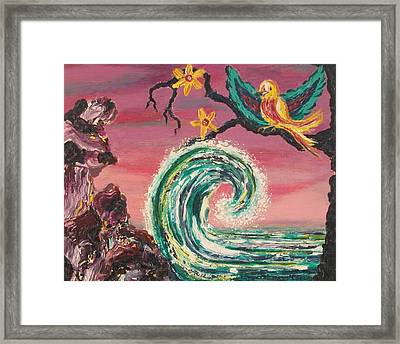 Rocks Wave And Bird Framed Print