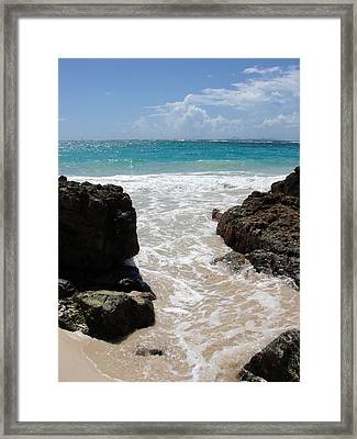 Framed Print featuring the photograph Rocky Beach In The Caribbean by Margaret Bobb