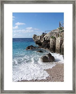 Rocky Beach On Capri Framed Print by Adam Schwartz