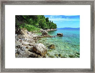 Rocky Beach On The Dalmatian Coast, Dalmatia, Croatia Framed Print