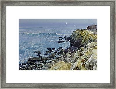Framed Print featuring the painting Rocky Beach by Sergey Zhiboedov
