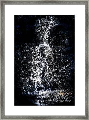 Rocky Blue Water Fall Details Framed Print by Jorgo Photography - Wall Art Gallery
