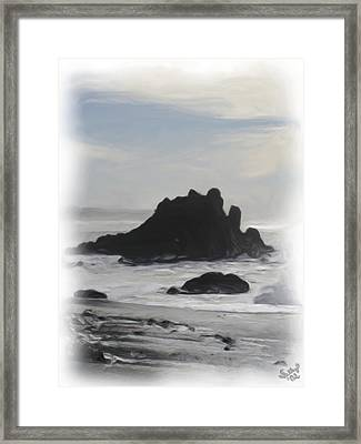 Framed Print featuring the painting Rocky Coast Newport Oregon by Shelley Bain
