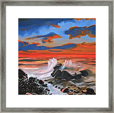 Rocky Cove Framed Print by Donna Blossom