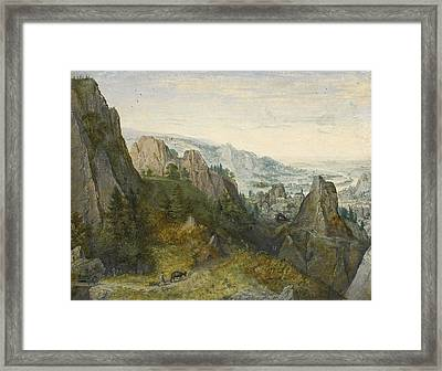 Rocky Landscape With Travellers On A Path With A View Of A Town Believed To Be Huy In The Valley Bey Framed Print