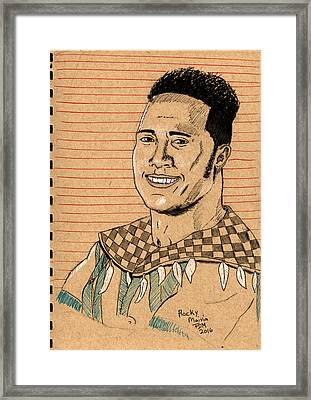 Rocky Maivia Framed Print by Frank Middleton