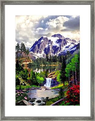Rocky Mountain Cascade Framed Print by Ron Chambers