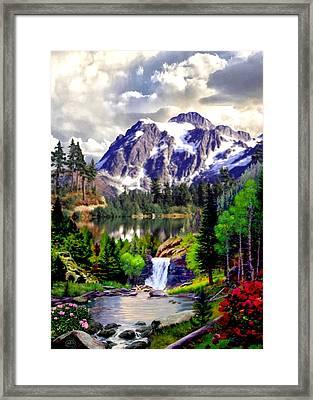 Rocky Mountain Cascade Framed Print