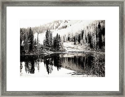 Rocky Mountain Lake - Black And White Framed Print by Steve Ohlsen