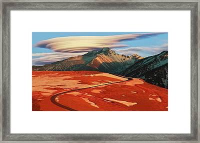 Longs Peak Lenticular Framed Print by Russ Dearborn