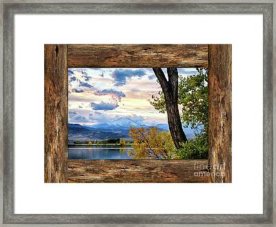 Rocky Mountain Longs Peak Rustic Cabin Window View Framed Print