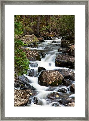 Rocky Mountain National Park Cascade  Framed Print by The Forests Edge Photography - Diane Sandoval
