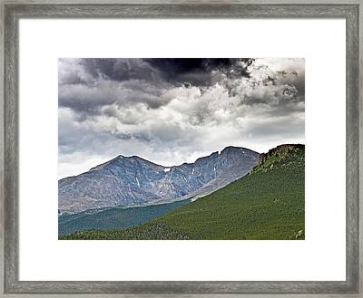 Rocky Mountain National Park Mount Meeker And Longs Peak Colorado  Framed Print by Brendan Reals