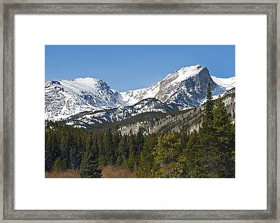 Rocky Mountain National Park Vista Showing Hallet Peak On Right Framed Print by Brendan Reals