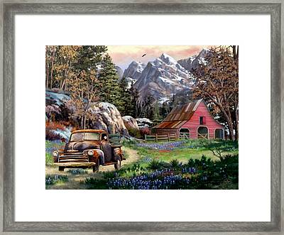 Rocky Mountain Ranch Framed Print by Ron Chambers