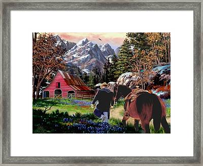 Rocky Mountain Ranch Ver2 Framed Print by Ron and Ronda Chambers