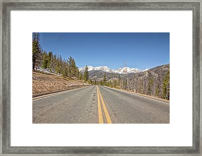 Rocky Mountain Road Heading Towards Estes Park, Co Framed Print by Peter Ciro