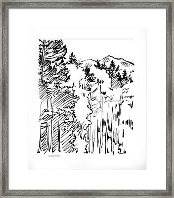 Rocky Mountain Sketch Framed Print