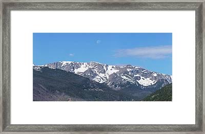 Rocky Mountain Waning Gibbous Moon Set Framed Print