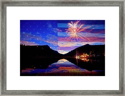 Rocky Mountains American Fireworks Show Framed Print