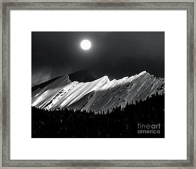 Rocky Mountains In Moonlight Framed Print