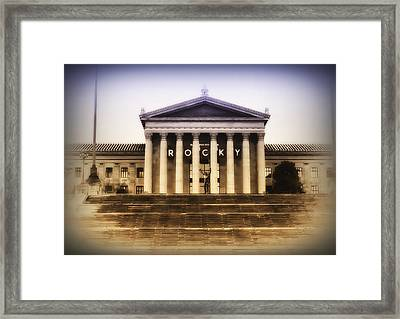 Rocky On The Art Museum Steps Framed Print