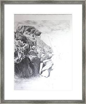 Rocky Outcrop In Snowdonia. Framed Print by Harry Robertson