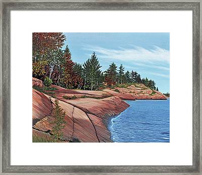 Framed Print featuring the painting Rocky River Shore by Kenneth M Kirsch