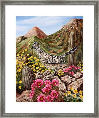 Rocky Road Runner Framed Print by Judy Filarecki
