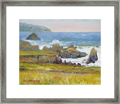 Rocky Shore Breakers Framed Print by Max Mckenzie