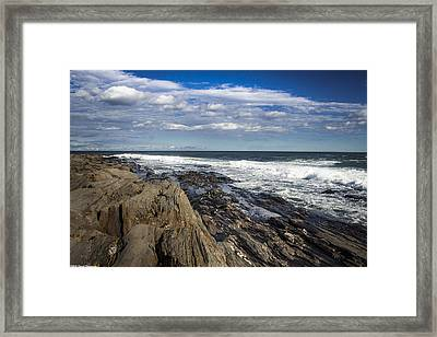 Rocky Shore Line Two Lights Maine  Framed Print
