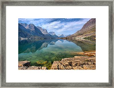 Rocky Shores And Emerald Waters Framed Print