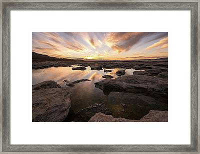 Framed Print featuring the photograph Rocky Shores Of Utah Lake by Wesley Aston