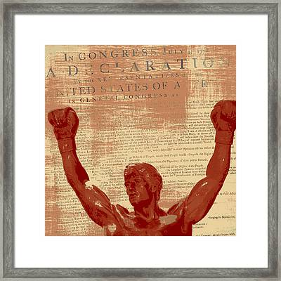 Rocky Statue Declaration Of Independence Framed Print by Brandi Fitzgerald