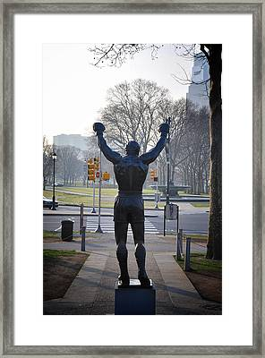 Rocky Statue From The Back Framed Print by Bill Cannon