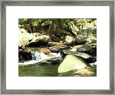 Framed Print featuring the mixed media Rocky Stream 5 by Desiree Paquette